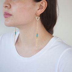 Geometric Chain Fringe Earrings by HazelandStone on Etsy