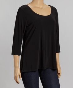 Take a look at this Black Keyhole-Back Top - Plus by Avital on #zulily today!