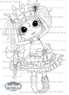 INSTANT DOWNLOAD Digital Digi Stamps Big Eye Big Head Dolls Messy Bessy My Besties Digi My New Crown Img087 By Sherri Baldy