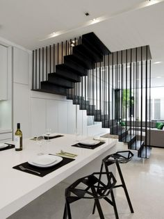 Making your stairs out of wood, steel, glass, acrylic or concrete? Stairs materials explained and inspirational images to assist with your design. Home Stairs Design, Interior Stairs, Stair Design, Stairs Architecture, Interior Architecture, Escalier Design, Modern Interior, Interior Design, Staircase Railings