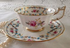 Royal Chelsea Tea Cup and Saucer Teacup Duo by NicerThanNewVintage