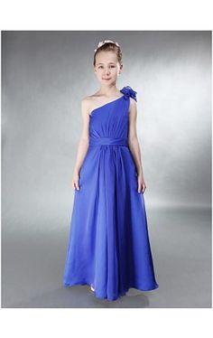 A-line One Shoulder Floor-length Chiffon Junior Bridesmaid Dress