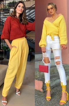Fashion Colours, Colorful Fashion, Color Blocking Outfits, Boss Lady, Colored Jeans, Capsule Wardrobe, Casual Looks, White Jeans, Ideias Fashion
