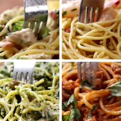Eat Stop Eat To Loss Weight - Spaghetti Four Ways - In Just One Day This Simple Strategy Frees You From Complicated Diet Rules - And Eliminates Rebound Weight Gain I Love Food, Good Food, Yummy Food, Tasty Videos, Food Videos, Cooking Videos Tasty, Cooking Recipes, Healthy Recipes, Spaghetti