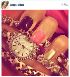 #gold #black #pink #nails