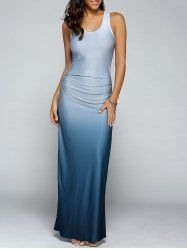 Sleeveless Gradient Color Maxi Dress - LIGHT BLUE