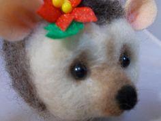 Christmas Hedgehog Needle felted Handmade Needle by grannancan