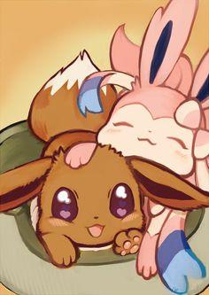 Pokemon - Eevee and Sylveon Pokemon Eeveelutions, Eevee Evolutions, Pokemon Pins, Pokemon Go, Eevee Cute, Anime Sexy, Totoro, Manga Pokémon, Legend Of Aang