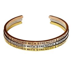 """""""SHE IS CLOTHED WITH STRENGTH AND DIGNITY"""" Gold, Rose Gold, & Silver Bangles! Get your inspirational jewlery today at www.brightbands.com. They make amazing gifts!"""