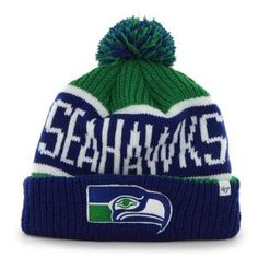"Amazon.com : Seattle Seahawks Blue Cuff ""Calgary"" Beanie Hat with Pom - NFL Cuffed Winter Knit Toque Cap by '47 Brand : Sports & Outdoors"