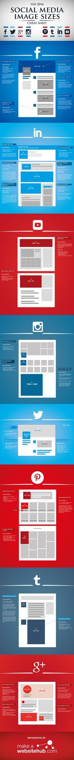 Was sind die aktuellen, typischen Social Media Bildgrößen 2016 ?! | Check the actual social media image sizes 2016 in this cheat sheet ! #infographic #Infografik #Marketing #PR #SocialMedia #howto #smb #KMU #Wissen