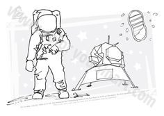 neil armstrong coloring sheet first step moon