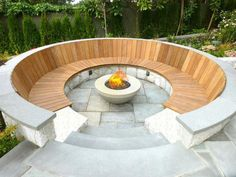 Build a unique outdoor fire pit seating using our spectacular ideas for circular, sunken & built in area designs for patio, garden & backyard. Concrete Patios, Concrete Fire Pits, Gas Fire Pits, Paver Fire Pit, Sunken Fire Pits, Diy Fire Pit, Fire Pit Backyard, Backyard Patio, Patio Table