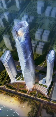Hai Tian Center Tower, Qingdao, China by Archilier Architecture :: 72 floors, height Unusual Buildings, Interesting Buildings, Modern Buildings, Beautiful Buildings, Futuristic Architecture, Residential Architecture, Amazing Architecture, Architecture Design, Building Architecture