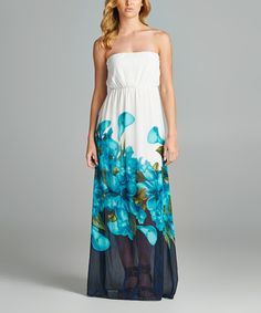 Look at this 42POPS Blue Floral Watercolor Strapless Maxi Dress on #zulily today!
