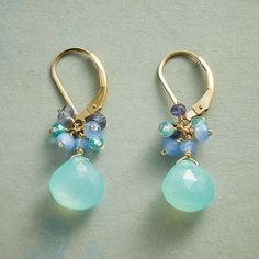 """SEASIDER EARRINGS--Seaside hues frolic with 14kt gold filled sunlight on our handcrafted, faceted gemstone earrings. Chalcedony, iolite and apatite. Exclusive. Lever back wires. 1-1/4""""L."""
