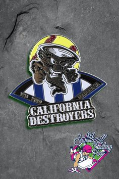 These trading pins created for the California Destroyers are colorful and fun!   Its never too early or late to design your own softball trading pins.