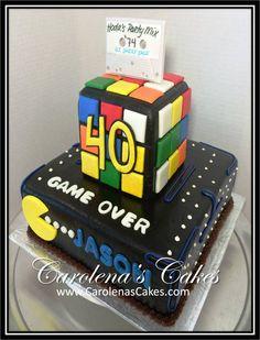 Pac Man / Rubix Cube 40th Birthday Cake
