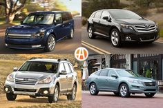 This list centers on wagons that are about seven years old. Toyota Venza, Toyota Prius, Subaru Outback For Sale, Ford Flex, Roof Rails, Seven Years Old, Volkswagen Jetta, Station Wagon, Fuel Economy