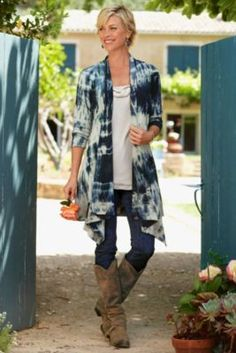Takara Topper - Drape Cardigan, Tie Dye Cardigan, Jersey Knit Top | Soft Surroundings