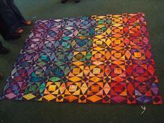 Miriam's luminous rainbow quilt South Bay Modern Quilt Guild Star Quilts, Scrappy Quilts, Quilt Blocks, Batik Quilts, Bright Quilts, Colorful Quilts, Quilting Projects, Quilting Designs, Quilting Ideas