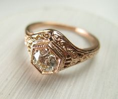 Filigree Antique Vintage Engagement Diamond Ring Rose by Spexton