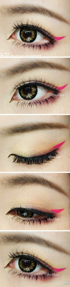 Neon winged liner; creepy fake lenses and falsies, but cute idea with the neon wing