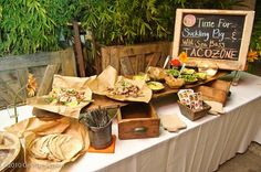 taco bar from Party Frosting: Mexican Fiesta Party Ideas and Inspiration! - family reunion and large group meal Wedding Food Bars, Wedding Reception Food, Wedding Ideas, Wedding Receptions, Party Wedding, Rustic Wedding, Taco Bar, Burrito Bar, Mexican Fiesta Party