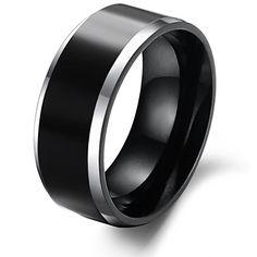 elegantes homens negros tungstênio anel de aço – BRL R$ 50,81