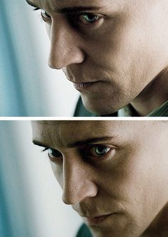 Loki - I love his eyes here. The determination and the sorrow there on having to do this. Not because he wants to but because he feels he HAS to. Also in Norse Myth Loki is supposed to have very distinctive eyes.