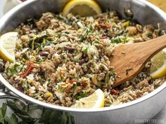 Everything cooks together in one pot for this fast and easy Greek Turkey and Rice Skillet, creating big flavor without a lot of fuss. Cooking For A Crowd, Cooking On A Budget, Budget Meals, Cooking Tips, Cooking Recipes, Healthy Recipes, Budget Recipes, Cooking Classes, Salad Recipes