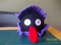 COMPLETED: 72 GOAL: 649           Material:  crochet hook (I use F),  medium and dark purple, black and red yarn, white and black felt, po...