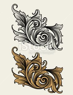 Broadleaf Scroll Royalty Free Stock Vector Art Illustration