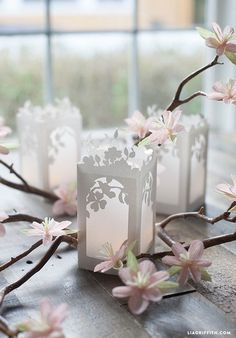 DIY Free Downloadable Printable Spring in Bloom Paper Lanterns (Available as a pdf template or svg file if you have a cutting machine.)