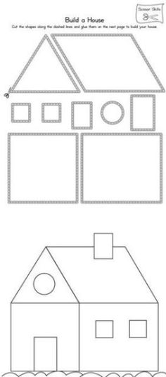 Practice scissor skills by building a house in this printable worksheet. Practice scissor skills by building a house in this printable worksheet. Free Preschool, Preschool Worksheets, Preschool Learning, Kindergarten Activities, Toddler Activities, Learning Activities, Preschool Activities, Learning Shapes, Learning Spanish