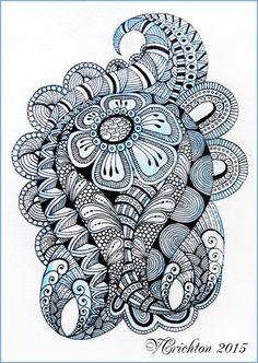 zentangle arte, acuarela, gelpen, Viktoriya Crichton.