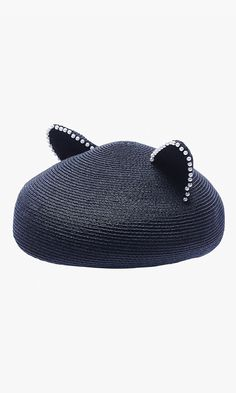 Woven with black hemp and pearl-accented edges, this kitty ear beret is our topper of choice. Elastic string can be worn behind hair for windy days. Via Lucky Shops