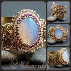 The first in the fusion series - Jewelry creation by Becca Ross Brass Jewelry, Jewelry Art, Gemstone Jewelry, Wire Rings, Gold Rings, Wire Weaving, Beads And Wire, Craft Work, Wire Wrapped Jewelry