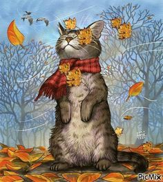 Cute Kitty Enjoying a Breeze & the Leaves!