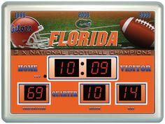 """Florida Gators Clock - 14""""x19"""" Scoreboard"""
