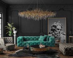 art deco interior Art Deco style luxury black and teal living room with restoration hardware soho sofa replica, teal living room decor with teal velvet tufted sofa Art Deco Living Room, Teal Living Rooms, My Living Room, Living Room Designs, Black Sofa Living Room Decor, Black And Gold Living Room, Teal Rooms, Black Rooms, Small Living