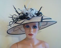 b843ddf13d9465 LADIES DAY GREY & BLACK MOTHER OF THE BRIDE WEDDING ROYAL ASCOT CHURCH RACE  HAT Fascinator