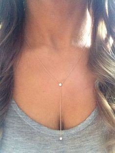Solid 14k gold lariat necklace drop necklace Y от NOSTALGII