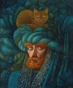"Hernán Valdovinos (Chilean painter, b. - ""Iskander"" (genius protector of cats) - Oil on canvas Art Et Illustration, Illustrations, I Love Cats, Cool Cats, Art Visionnaire, Gato Grande, Power Animal, Gatos Cats, Magic Realism"
