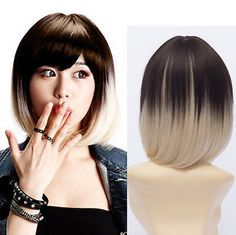 Womens Lolita Blonde Ombre Bob Hair Short Straight Side Bang Wig Cosplay Costume #new #FullWig
