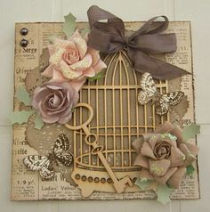 Bird cage card with flowers and butterflies. Now I get why everyone loves Pinterest...this pinning thing is fun!!!