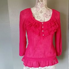 1/2  buttondown Hollister blouse 4 buttons on frilly bright light weight Hollister Blouse Hollister Tops