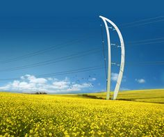 Bow-like pylon designed by Amanda Levete Architects and Arup. Current power line pylons are horribly boring. This proposal shows that pylons can not only look better, but be beautiful works of art.