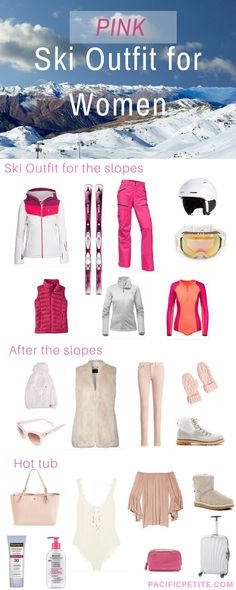 Having trouble finding a ski outfit! If you love pink, check out this pin full of Ski jackets, ski pants, skis, helmet, goggles, ugg boots etc.