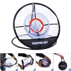 TOMSHOO Portable Golf Chipping Net 20 inch Golf Training Chipping Net Hitting Aid Golf Practice Net Cage Indoor Outdoor Bag